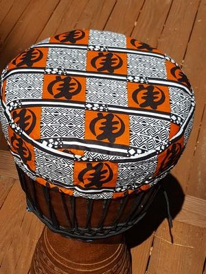 African cloth djembe drum hat protective cover with Gye Nyame symbol for God