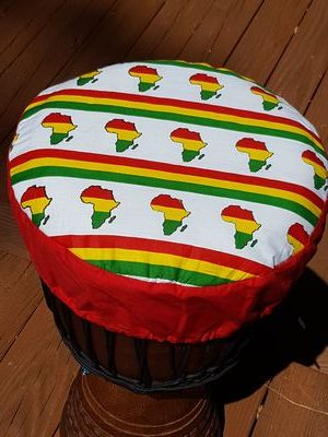 Red yellow green cloth with African continent djembe drum hat protective cover